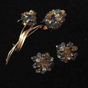 Vintage Crystal Flower Brooch & Earring Set